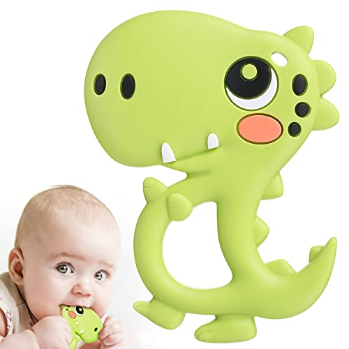 BBBiteMe Baby Teething Toys Dinosaur Baby Teethers Silicone Toy for Toddlers and Infants, BPA-Free Eco-Friendly Non-Toxic Freezable Dishwasher and Refrigerator Safe (Green)