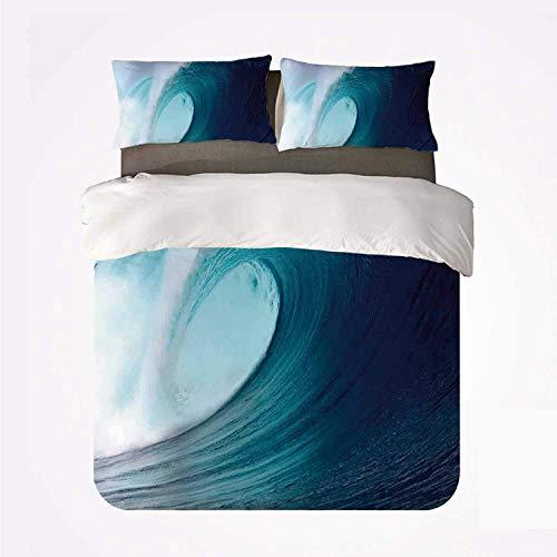 Yoyon Bettbezug-Set Ocean Decor Schönes 3-Bett-Set, Tropical Surfing Wave auf einem windigen Meer Indonesien Sumatra Dekorativ für Wohnzimmer