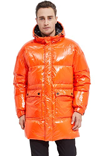 Orolay Shiny Down Jacket Men Winter Coat Stand Collar Puffer Jacket with Hood Flame L