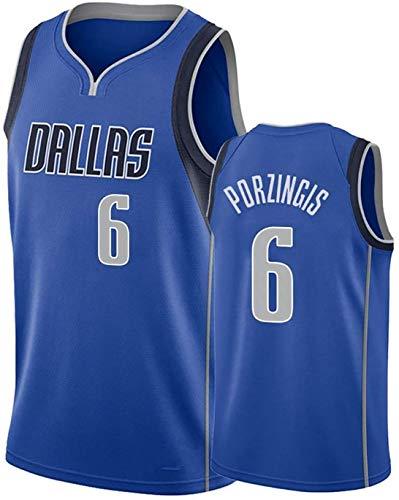 DULI Herren Basketball Trikot Mavericks Porzingis # 6 Bestickte atmungsaktive Outdoor-Sportbekleidung Basketballkleidung kann wiederholt gewaschen Werden-Blue-M
