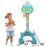 Q-FQRM Canasta de Baloncesto para Niños, Soporte de Baloncesto para niños con Juego de fútbol y Golf, Juego de Canasta de Baloncesto para Interiores y Exteriores, Mejor Regalo para Bebés