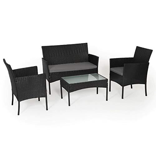 BENEFFITO Tulum - Muebles de jardín de Resina Trenzada Negra - 4 Asientos: 1 sofá, 2 sillones, 1 Mesa de Centro - Cojines Grises con Cremallera