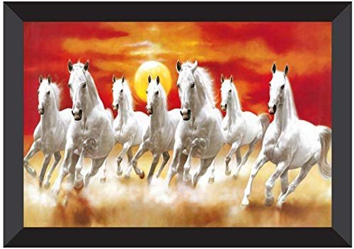 SAF 7 Running Horses Vastu UV Coated Home Decorative Gift Item Framed Painting 14 inch X 20 inch SANFHH6781