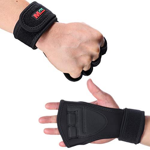 Luvas esportivas Lioobo para academia, musculação, haltere, haltere, treinamento de pulso, manopla, equipamento de levantamento de peso – Tamanho M (preto)