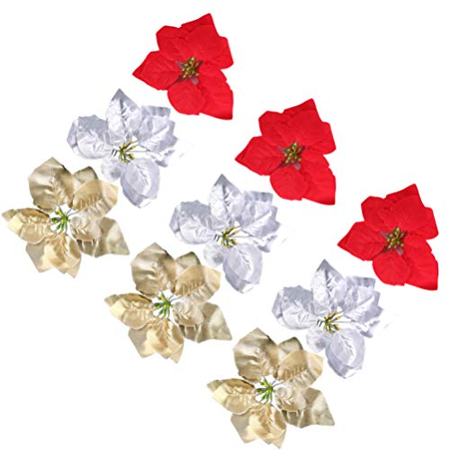VALICLUD 18pcs Christmas Poinsettia Artificial Magnolia Flower Ornaments Picks Stems for Christmas Tree Decorations (Red Yellow and White)
