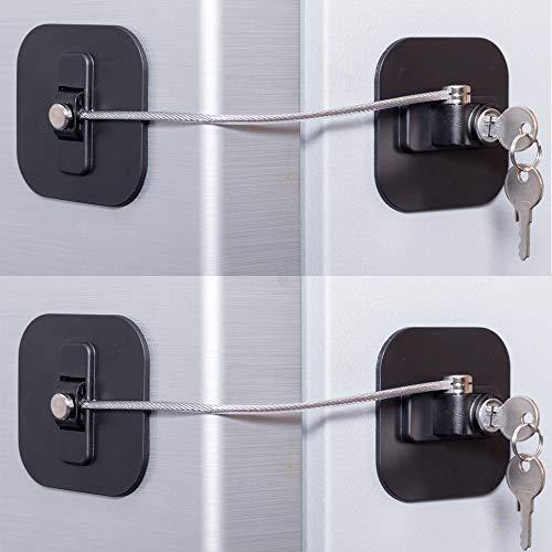 Fridge Lock,Refrigerator Lock with Keys,Freezer Lock and Child Safety Cabinet Lock with Strong Adhesive (Fridge Lock-Black 2Pack)