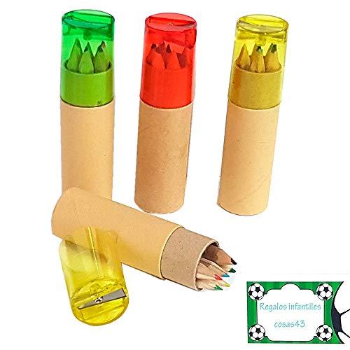 Lote 12 Unidades cajita cilíndrica con 6 lápices de Colores en Madera y 1 sacapuntas. Regalos Infantiles para cumpleaños.