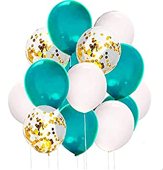 Teal Gold Balloons by Qian s Party for Teal White Gold Birthday Decorations Women of 15pcs Balloons Teal Gold Bridal Shower Decorations/Turquoise Gold Wedding Decorations