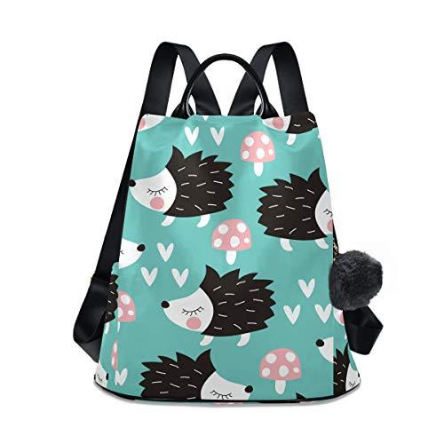 Cartoon-Igel-Pilz-Rucksack für Damen, wasserdicht, modisch, Anti-Diebstahl, klassischer Tagesrucksack, Reise-Schultertasche