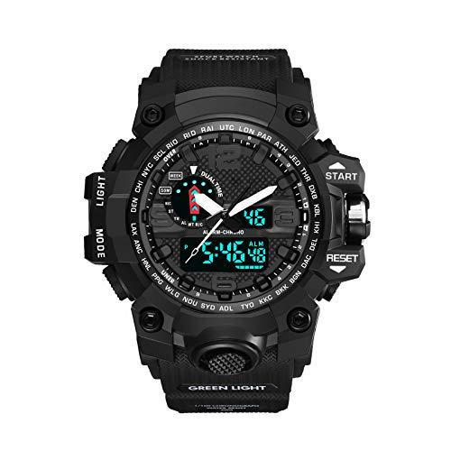 Reloj deportivo, reloj digital, relojes deportivos impermeables de 50 m para hombres, reloj inteligente deportivo luminoso para hombre, reloj de pulsera con calendario de cronómetro 12H / 24H (negro