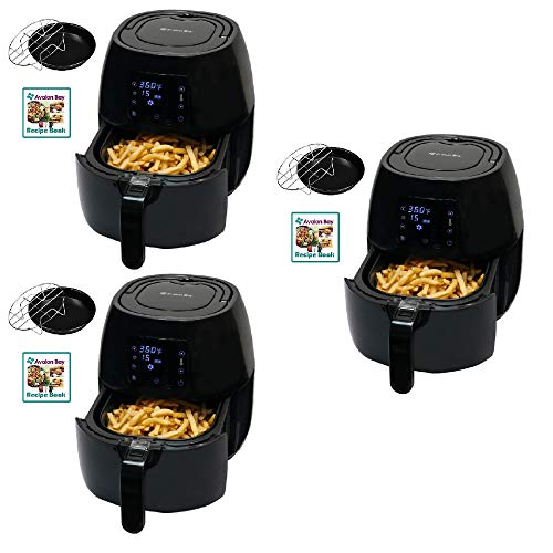 Avalon Bay Air Fryer Digital Display Stainless Steel Healthy Appliance (3 Pack)