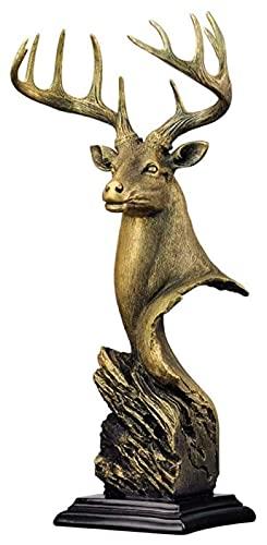 Topniu Figurine objeto ciervo cabeza resina escultura artesanía animal estatua estatuas coleccionables estatuillas casero accesorios decorativos de escritorio estantería estantería regalo decorativo a