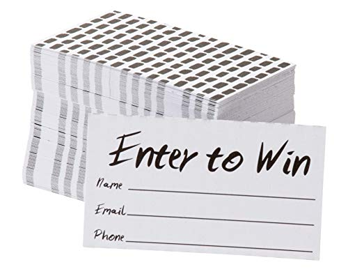 Enter to Win Cards C 200-Pack Entry Form Cards Entry Cards for Contests Raffles Ballots Drawings White 3.5 x 2 Inches