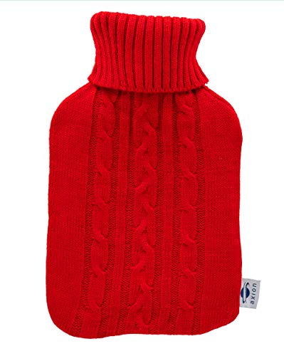 Bolsa de agua caliente axion - incluye funda/forro de tejido rojo