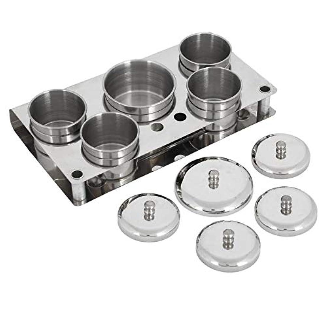 銅困惑するうれしいSODIAL 5個、ステンレススチール、ネイルアートのミニパウダー&リキッドの設置缶、収納ボックス、コンパクトなマニキュアツール、消毒滅菌ボックス