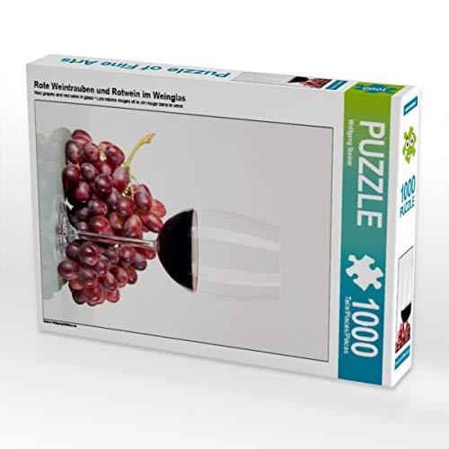 CALVENDO Puzzle Rote Weintrauben und Rotwein im Weinglas 1000 Teile Lege-Größe 48 x 64 cm Foto-Puzzle Bild von Wolfgang Steiner