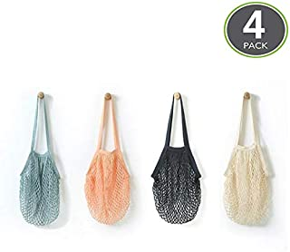 Reusable Produce Bags -4 Pack - Portable/mesh grocery bags/Washable Cotton Mesh String Organic Organizer Shopping Handbag Long Handle Net Tote (grey blue/Black/Beige/Pink)