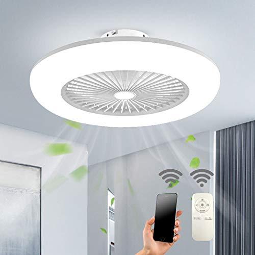 SLZ Deckenventilator mit Beleuchtung 36W Deckenleuchte Dimmbare mit Fernbedienung 3-Gang Einstellbare LEDWindgeschwindigkeit Modern Schlafzimmer 55CM Unsichtbare Leise Ventilator Kinderzimmer,Weiß