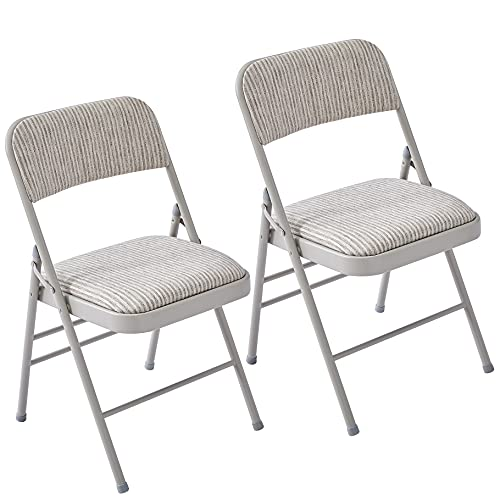 LeChamp Padded Folding Chair Sturdy Metal Frame Comfortable Desk Chair Indoor/Outdoor Foldable Chairs for Home Office
