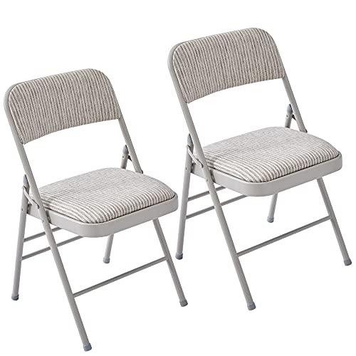 LeChamp Gepolsterter Klappstuhl Stabiler Metallrahmen Komfortabler Schreibtischstuhl Indoor/Outdoor Faltbare Stühle für Home Office