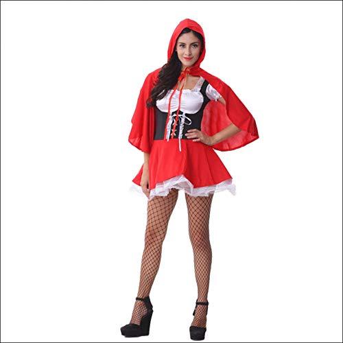 GBYAY Vestido de Caperucita Roja para Mujer Disfraz de Cosplay de Halloween para Mujer Disfraz de Disfraces para Adultos con Ropa de Fiesta de Capa