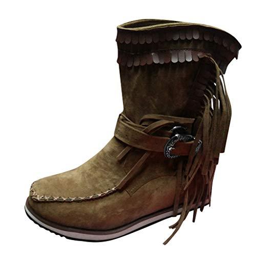 TWISFER Damen Flats Stiefel Thick Bottom Schuhe Round Toe Retro Fransen Dicker Boden Stiefeletten Winter Vintage Cowboy-Stiefel Bequeme Worker Boots