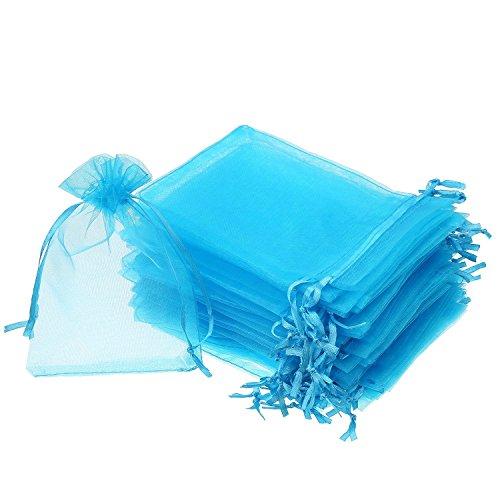 Wady 100 Pezzi 2.8 x 3.5pollici Sacchetti di Regalo in Organza Buste Gioielli Coulisse Sacchettini di Matrimonio Festa Favore (Aqua Blu)