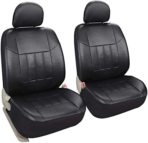 Auto 2 Leather Black Car Seat Covers Universal Fit Cars SUV Trucks Front Seats Low Back with Airbag - Leader Accessories