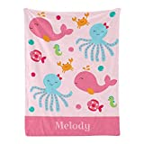 Pink Under The Sea Ocean Personalized Receiving Baby Blankets for Girls Boys Kids with Name,Customized Swaddle Blankets Gift for Newborn Crib Infants 30x40 Inches