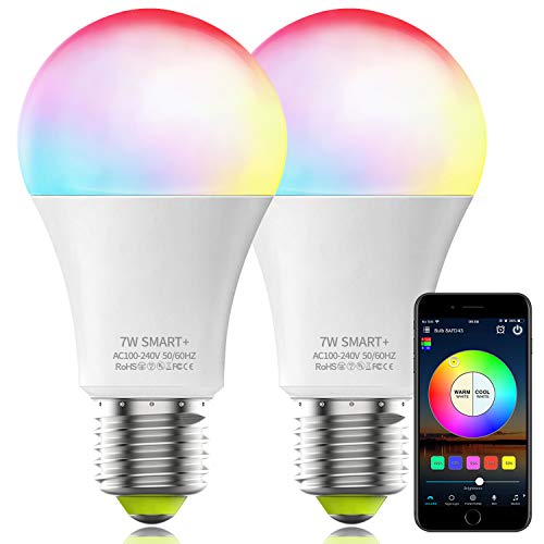 Magic Hue Smart Light Bulb No Hub Required, A19 E26 7W (60w Equivalent) UL Listed Dimmable White Color Changing LED WiFi Bulb, Works with Alexa Google Assistant Siri (2Pack)