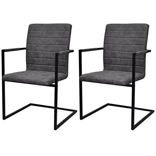 Festnight 2er-Set Freischwinger Esszimmerstühle Essstuhl Küchenstuhl mit Armlehnen Schwingstuhl Grau geriffelt