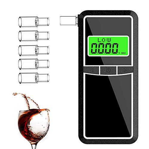 Breathalyzer, AHUIFT Professional Alcohol Tester, Portable Digital LCD Breathalyser High-Accuracy Breathalyzer for Drivers Or Home Use with 5 Mouthpieces [FDA Certification]