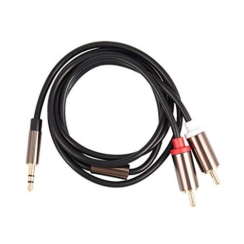 Bestlymood Jack 3.5mm a 2 RCA Cable de Audio AUX Divisor 3.5mm Estereo Macho a Macho RCA Adaptador 2 Cable de Altavoz 1m