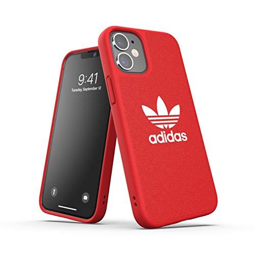 adidas Funda diseñada para iPhone 12 Mini 5.4, de Lona a Prueba de caídas, Bordes elevados, Carcasa Original, Color Rojo Escarlata