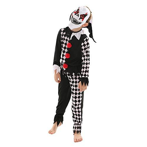 Kinder Joker-Kostüm, gruseliges Halloween-Clown-Outfit + Maske Gr. 11-12 Jahre, Schwarz
