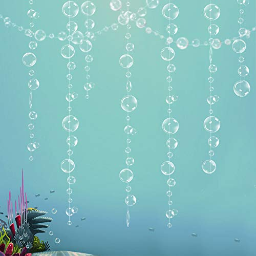 Decor365 Flat White Transparent Bubble Garlands for Ocean Party Decorations Hanging Floating Bubbles Cutout Streamer Mermaid Under The Sea Pool Ocean Birthday Home Kids Room Wedding Baby Shower Decor