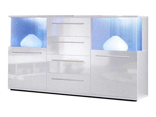 trendteam smart living Wohnzimmer Sideboard Kommode Punch,141,5 x 82 x 40 cm in Korpus Weiß, Front Weiß Glanz mit viel Stauraum und Ablagefläche