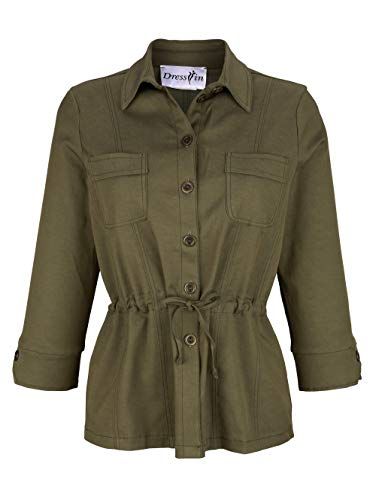 Dress in In Damen Blusenjacke Khaki 48 Baumwolle
