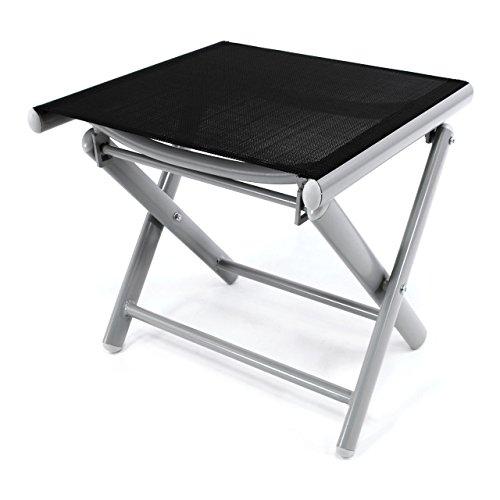Nexos Trading Klapphocker Sitzhocker 42 cm Campinghocker Fußteil Aluminium Textilene schwarz pulverbeschichtet Gestell hellgrau