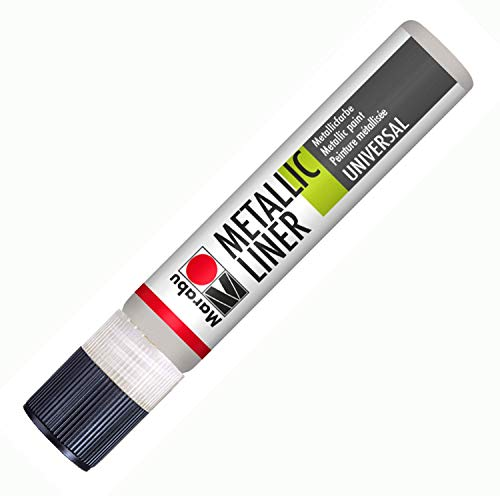 Marabu 18030009782 - Metallic Liner silber, Effektfarbe auf Wasserbasis, für schimmernde Metalliceffekte auf Stoff, Holz, Metall u.v.a., speichelecht, einfache Fixierung, 25 ml