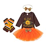 4Pcs My First Thanksgiving Outfit Baby Girl Turkey Long Sleeve Romper Tutu Skirt Headband Leg Warmers Set Brown/Orange/3-6 Months