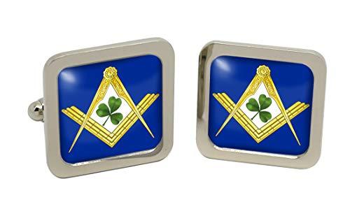 Irish maçons maçonnique pour homme Boutons de manchette-Carré-Chromé-Coffret cadeau