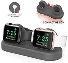 Delidigi Dual iWatch Charging Stand Dock Compatible with Apple Watch Series 5/4/3/2/1(44/42/40/38mm), Supports Nightstand Mode (Dark Grey)
