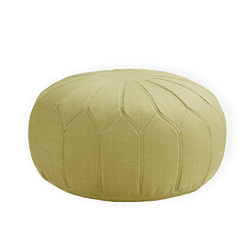 Madison Park Kelsey Round Floor Pillow Pouf Large-Soft Fabric, Polystyrene Beads Fill Ottoman Foot Stool-1 Piece Mid-Century Modern Floral Design Oversized Beanbag, Green