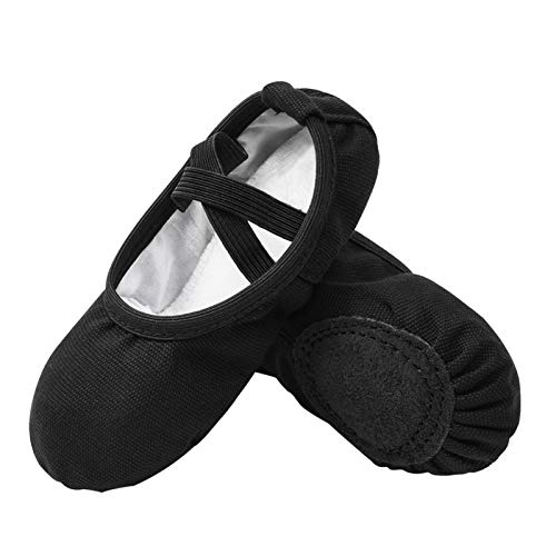 Stelle Girls Canvas Ballet Slippers Flats  Leather Soles Dance Shoes for Toddler Little Kid (No Tie)(BK  11ML) Black