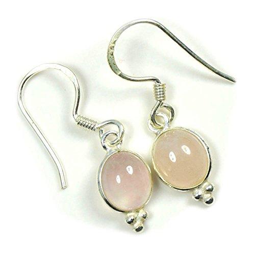 Jewelryonclick - Pendientes de plata de ley con piedras preciosas rosas y cuarzo para mujer