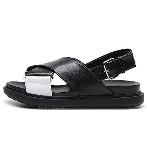 ZZLHHD Fondo Grueso Sandalias Punta Abierta Cuero,Fish Mouth Thick Sandals, Hemp Rope Cross Women's Shoes-Black and White_40,B1