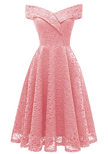 Tecrio Women's Vintage Floral Lace Off Shoulder Evening Party Prom Swing Dress S Pink-2
