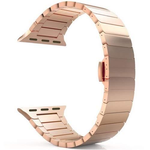 Correa Reloj Para la serie 6/5/4/3/2 / 1 / SE Correa para la banda de reloj 44mm 42mm banda 40 mm 38 mm pulsera de metal mariposa hebilla de reloj 711 ( Band Color : A light gold , Band Width : 38mm )
