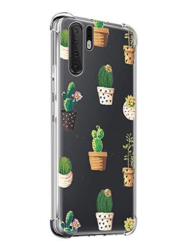 Oihxse Transparente Silicona Funda Compatible con Huawei P Smart 2019/Honor 10 Lite Carcasa Ultra-Delgado Suave TPU Gel Airbag Esquinas Anti Rasguños Lindo Protector Case Bumper(A6)